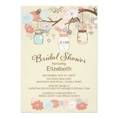 Rustic Country Mason Jar Bridal Shower Card Modern & trendy mason jar bridal shower invitation featuring a tree branch with pretty blue, coral & brown floral flowers and popular rustic hanging mason jars. Visit our shop to view our beautiful selection of mason jar invitations.