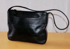 Kenneth Cole New York Woman Black Leather Business Bag Vintage Handbag Zip Closure Borsa Media/Piccola in Pelle Nera da Donna Tracolla di BeHappieWorld su Etsy