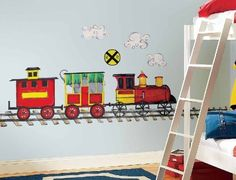 All Aboard Mega-Pack Wall Decals by Thomas & Friends. $50.49. All aboard! This Mega-Pack decal allows you to create a custom train track and train on your walls. Children will love mapping out their own train track, hooking up the rail cars, and decorating with the additional red, yellow, and green dots. It's so muc