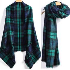 """Chic Plaid Blanket Scarf Size- 4 ft 5"""" by 4 ft 5"""" approx. Gorgeous black, green and navy plaid. Soft acrylic woven fabric. Get $7 off now by bundling (20% off bundles). New. Gorgeous!  This plaid is also sold under designer brand names for $75 or more.  Save with bundles. Ready to ship now.  Three available. Makes great gift! Botique Accessories Scarves & Wraps"""