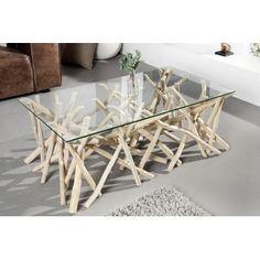 Table basse design bois flotté Adora 110 cm