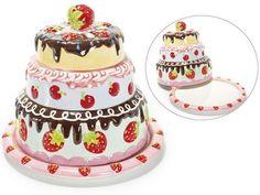 Kuchenplatte und Haube Set 2tlg. 2teiliges Set bestehend aus Kuchenteller mit Haube aus dekorierter Keramik Ø 19,5 x H 17 cm bei annejoe.net