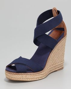 Adonis Stretch Espadrille Wedge, Navy by Tory Burch at Neiman Marcus.