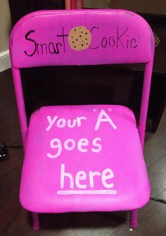 academic motivation ~ if a sister gets an A on a test, quiz, or project she turns her name in for a raffle. During formal chapter a winner is drawn and she gets to sit in the 'smart cookie' chair for the rest of the meeting and wins a free box of cookies too!