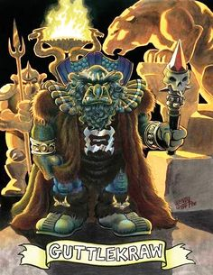 WaRP Graphics Elfquest No. 18 Back Cover art by Wendi Pini. Pictured Guttlekraw, King of the Mountain Trolls.