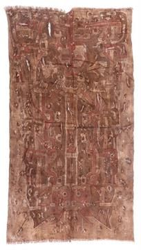 A Chancay Painted Textile Panel, ca. 1100-1400 A.d., Painted in brown, red, blue and cream with