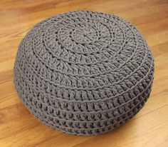 Comfy Crochet Pouf DIY | This crochet home decor will make you want to kick back and relax in more ways than one: easy to crochet and then perfectly comfy to rest your feet on, it's the perfect way to bring crochet comfort to your living space!