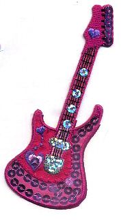 Guitar Pink W/Sequins Iron On Applique