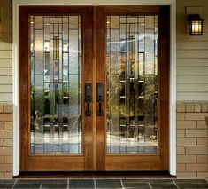 Doors: Solid Wood Front Entry Double Doors With Sidelights And Great Brick Wall Exterior Design from Great Home on the Double Front Entry Doors Double Front Entry Doors, Entry Door With Sidelights, Double Doors Exterior, Wood Exterior Door, Wood Front Doors, Front Door Entrance, Glass Panel Door, Glass Front Door, Glass Doors