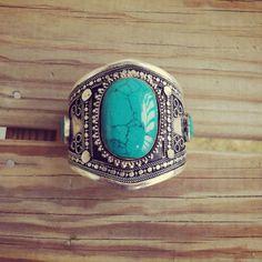Turquoise Cuff Afghan Vintage Bracelet