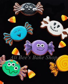 Cute halloween cookies made with a candy shapped cutter - by Ali Bee's Bakeshop