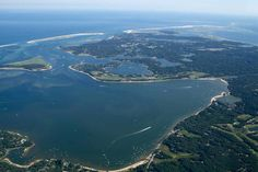"""""""Pleasant Bay Aerial Photo with New Break"""" by Christopher Seufert, Chatham, Cape Cod // Chatham, Cape Cod:  Aerial photography by Chatham photographer Christopher Seufert.  Image from his upcoming book 'Chatham By Air.' // Imagekind.com -- Buy stunning, museum-quality fine art prints, framed prints, and canvas prints directly from independent working artists and photographers."""