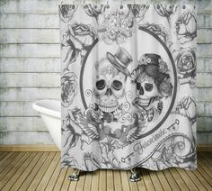 Sugar Skull Shower Curtain ,Forevermore Black and White, Gothic, Day Of The Dead , Master Bath