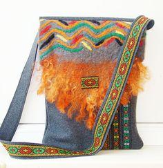 "Large Tote/ Handmade wool tote bag/ SHIPS FROM UKRAINE! Laptop bag/ Eco / Shoulder tote felt bag/ Ethnic tote bag/ Size: fit for 11"" 13"" 15"""