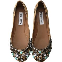 I need these immediately! Size 8.5 please! Steve Madden Embellished Flats ($240) found on Polyvore