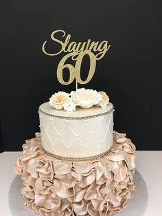 ANY NUMBER Gold Glitter 60th Birthday Cake Topper Slaying 60 For Mom Golden