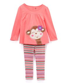 Loving this Kids Headquarters Pink Monkey Tunic & Leggings - Infant, Toddler & Girls on #zulily! #zulilyfinds