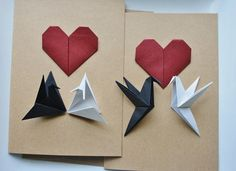 Origami Love Birds Cards.Origami Greeting Cards.Handmade greeting cards.Love birds.Black and white.Origami heart.Paper heart.Origami crane.