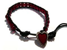 Garnet czech bead bracelet with Danforth crimson by ValiantMosaic, $20.00
