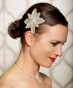 Art Deco Diamond White and Silver Fascinator, Vintage Wedding, Bridal Hair Clip, Silver Rhinestone Jewel, Wedding Hair Accessories - COLBY. $26.00, via Etsy.