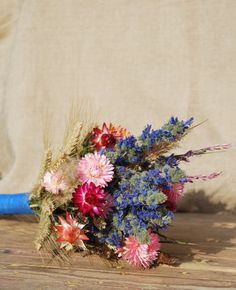 Tall dried bouquet of blue pink purple flowers by IsePaperAndCraft