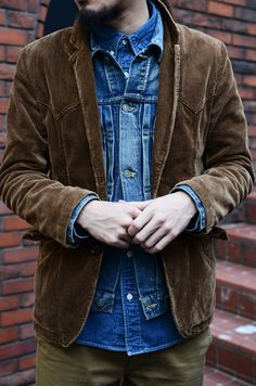 Visvim details, corduroy on top of denim. Great colour combo and fit.