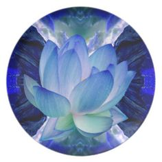 Blue lotus lily dinner party plates