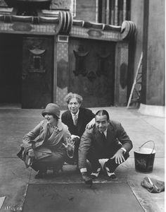 Sid Grauman with Mary Pickford & Douglas Fairbanks at their hand and footprint ceremony at Grauman's Chinese Theater