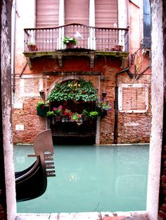 Venice, Italy canals and flowers