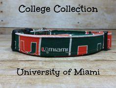 University of Miami Dog Collar, Miami Hurricanes Dog Collar, Canes Dog Collar Bandana, Pet Collar by twstitchanddesign on Etsy