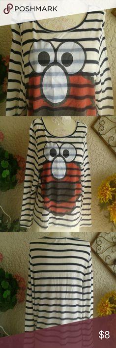 Forever21 Elmo Top Small White top, black horizontal stripes, image of Elmo from Sesame Street. Forever 21 Tops