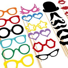 Photo Booth Props - 25 Piece Set Mustache Party On a Stick - via Etsy.