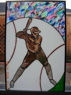 """Batter Up"" stained glass baseball"