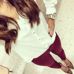 Old navy burgundy pixie pants. White button down. Leopard heels.