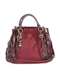 ae66b8f3bbb Prada Burgundy Tessuto Leather Gauffre Shoulder Bag Red