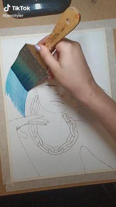 Art Drawings Sketches Simple, Pencil Art Drawings, Diy Canvas Art, Art Tutorials, Diy Art, Cute Art, Art Lessons, Watercolor Art, Art Projects