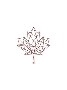 coolTop Geometric Tattoo - Geomatric Tattoos - Geometric Print Red on White Geometric Maple Leaf by unikDesignCo