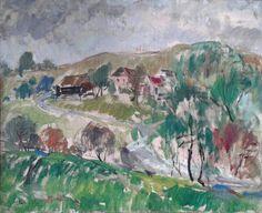 Hubert Čepiššak - Poddukelská krajina, olejomaľba, plátno na sololite, 65 x 80 cm, signované vľavo dole, 1979