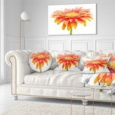 Designart 'Large Orange Gerbera on White' Floral Throw Pillow