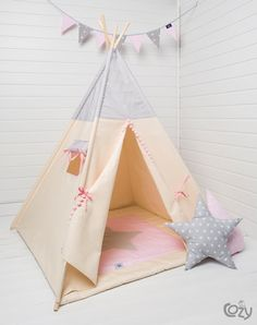 indian teepee kids play tent tipi grey dots by cozydots on Etsy