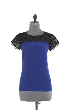 Ponte and lace top - Blue Short sleeves