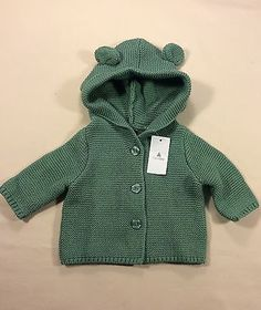 NWT Baby Gap Hooded Cardigan Up To 7 lbs. Boggy Green-Perfect For Reborn Doll
