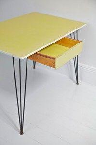 vintage kandya desk with hairpin legs