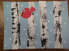 Miss Oetken's Artists: Textured Winter Birch Trees and Cardinals On white paper texture it using a hair comb. Cut into tree trunks. Glue on blue paper adding paper details. Winter Art Projects, Winter Crafts For Kids, School Art Projects, Art For Kids, Winter Project, Kid Art, Kids Fun, Kindergarten Art, Preschool Art