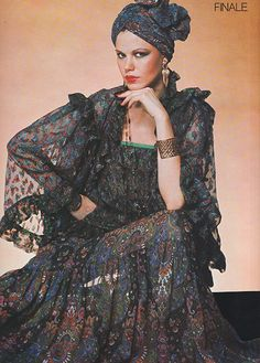 Yves Saint Laurent couture in L'Officiel (1977) Shot by Roland Bianchini.  #YSL