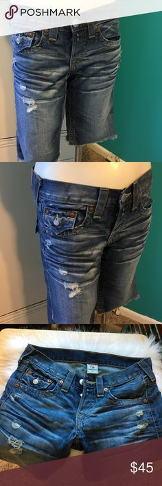Never Worn True Religion Shorts Typical of True Religion On Trend jean Shorts, Great Detail and Perfectly Distressed.  Waist Laying Flat 16' with button fly closure True Religion Shorts