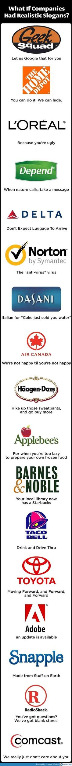 What if companies had realistic slogans