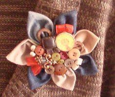 beautiful fabric flower brooch