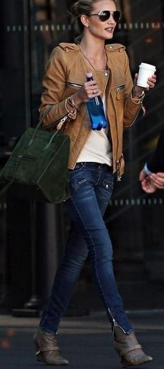 Leather jacket on top of simple t-shirt, jeans, leather booties and to top it off with a celine bag