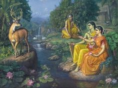 This image illustrates where, in the Ramayana, they see a deer of unearthly beauty and Sita asks Rama to get it for her. Rama and Laksmana doubt it is a normal deer and guess it is a demon disguised as a deer. Krishna Leela, Krishna Radha, Hare Krishna, Rama Lord, Rama Sita, Indian Art Gallery, Lord Rama Images, Bow Art, Sita Ram